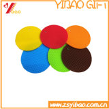 Forme ronde colorées en silicone de Plaid Coaster PVC Coaster tapis en caoutchouc (YB-HR-85)
