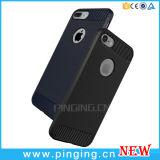 A fibra de carbono Cellphone Casos de silicone para iPhone 6/7 Plus caso