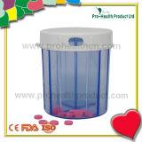 Conteneur de capsule de pillule de forme ronde de 4 compartiments avec le couvercle à visser