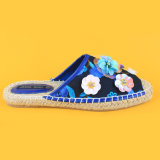 Тапочка Espadrilles холстины украшения цветка Sequin Stye способа голубая