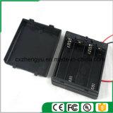support de la batterie 4AA avec les fils, la couverture et commutateur rouges/noirs de fil