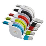 1m 철회 가능한 편평한 국수 iPhone를 위한 마이크로 USB 케이블 데이터 Sync 전화 충전기 USB 케이블