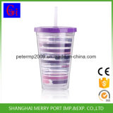 doppel-wandiges Plastikeis-Cup der einlage-400ml mit Stroh