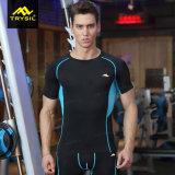 Parti superiori attive di ginnastica del manicotto di Short della camicia di compressione degli uomini