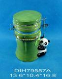 Scatola metallica chiusa ermeticamente del panda di ceramica dipinto a mano