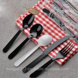 Нож PS черные & белые устранимые пластичные и вилка