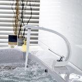 Faucet de bronze do banheiro da curva do banho da pintura branca de Flg