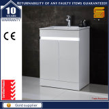 Module blanc personnalisé de vanité de salle de bains de forces de défense principale avec le lavabo