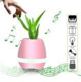 植木鉢Bluetoothの無線電信のスピーカーが付いているスマートなLEDの軽い円形のプラント鍋をする接触プラント音楽