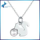 925 collane Pendant della perla della perla simulate storia animale sveglia dello scoiattolo dell'argento sterlina