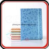 Cuaderno promocional de Moleskine de la flor de Debossed del regalo con el encierro elástico