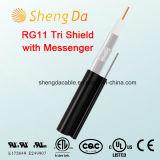 Tri-Shield RG11 con Messenger 75 Ohmios Cable Coaxial interior o exterior