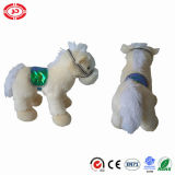 Beige Fancy Cute Fluffy Soft Horse Standing CE Peluches