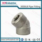 3000 gomito d'acciaio filettato ad alta pressione del acciaio al carbonio dell'accessorio per tubi della libbra 45