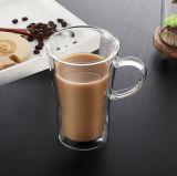 taza de café de cristal de la pared del doble de la taza del vidrio de consumición del agua del vidrio de Borosilicate 10oz