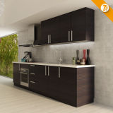 Быстрая доставка черный меламина оптовой деревянные кухонные шкаф (OP14-K008)