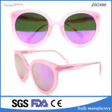Gafas de sol redondas del acetato de la lente del marco del color de rosa de la tortuga de la alta calidad