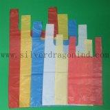 Saco colorido do t-shirt do HDPE para o uso da compra