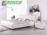 A056 estilo francés, muebles de dormitorio cama de cuero auténtico