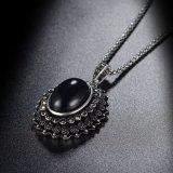 黒い金の鎖のラインストーンのガラス水晶衣服の模造宝石類セット