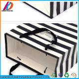 Bolso impreso del regalo de la Navidad del papel de la raya con la maneta