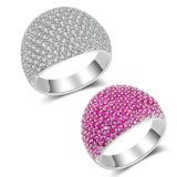 Anel de dedo de cristal da CZ da cor nova da cor-de-rosa do ouro branco do artigo