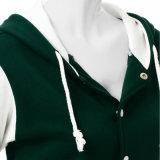 Mulheres grossista fabricante mangas longas elegante contraste de cor verde/camisa Blusa com capuz de marfim