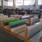 木製フレーム鋼鉄ベースPUの終了するベンチキャリッジシートの木の家具