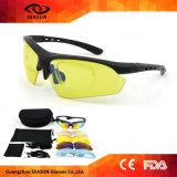Vidros de ciclagem polarizados 5 óculos de sol desobstruídos do esporte ao ar livre da prova de Eyewear UV400 dos vidros da bicicleta da lente