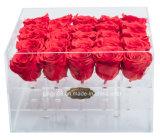 Custom imperméable en plastique acrylique clair Fleur Rose bijoux mariage du caisson de bonbons de chocolat Boîte d'affichage d'honneur