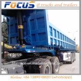 판매를 위한 반 거위 목 모양의 관 60t 후부 덤프 팁 주는 사람 트럭 트레일러