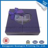 Caixa de presente rígida de papel luxuosa do cartão com o indicador da forma do coração