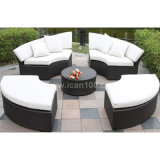 Sofa en aluminium extérieur de rotin réglé (WS-06036)