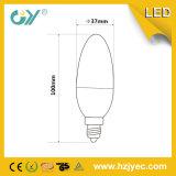 Luz da vela do diodo emissor de luz de RoHS TUV 3000k 6-7W E27 do CE