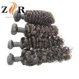 現実的なペルーの編む毛の拡張自然で黒い人間の毛髪のよこ糸