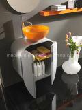 Vanité italiennes de salle de bains de PVC de type avec le bassin en verre orange