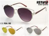 Óculos de sol novos de Desgin Metal com CE FDA Km15231 de Flat Lens