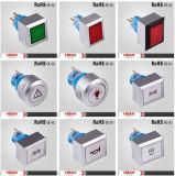 Commutateur de bouton poussoir de enclenchement momentané lumineux par tête carrée de RoHS 22mm de la CE