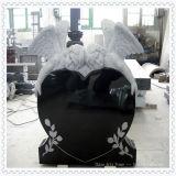 Monumento chinês da lápide de mármore do granito (anjo e corações)
