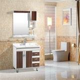 Шкаф ванной комнаты PVC высокого качества, керамический тазик, серебряное зеркало