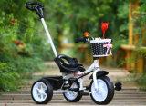 Rit van de Baby van de fabriek de In het groot Goedkope op Kind het Met drie wielen van de Jonge geitjes van het Speelgoed met de Staaf van de Duw