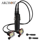 방수 램프 300watts 백색 + 건전지 양철통을%s 가진 빨간 LED 스쿠바 다이빙 플래쉬 등