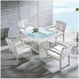 5 anos de jogo ao ar livre da tabela de jantar do jardim da mobília do Rattan branco de Foshan da garantia