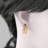 유행 18K 금에 의하여 도금되는 지르코니아 장식 못 결혼식 보석 귀걸이