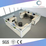 Escritório de design do projeto L forma compartimentos de madeira para escritórios de mesa com partições (CAS-W616)