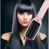 Pink Black LCD Hair Straightener Brush