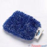 Mitaine brodée de lavage de voiture de peluche de Microfiber