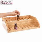 Soporte de visualización de madera de madera contrario de la botella de petróleo esencial para el departamento cosmético