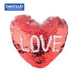 Сублимация пустым Sequin в форме сердца с подушкой Custom Photo Print (красный с белым, 39*44см) (BZLP3944HR-W)