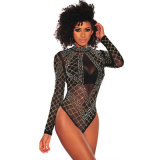 Les femmes Sexy Black Rhinestone maille cloutés Manches Longues body